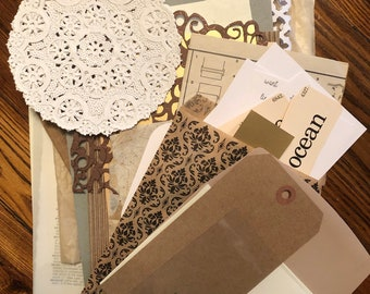 Junk Journal Neutral Papers Pack, Paper Scraps for Cardmaking, Mixed Media, Collage, Bible Journaling, DIY gift for her