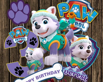 PAW PATROL CENTERPIECE Number 3 Everest Paw Patrol Printable Centerpiece. Paw  Patrol Party Decorations Paw Patrol Photo Booth Props Number 3 dadc347ceb