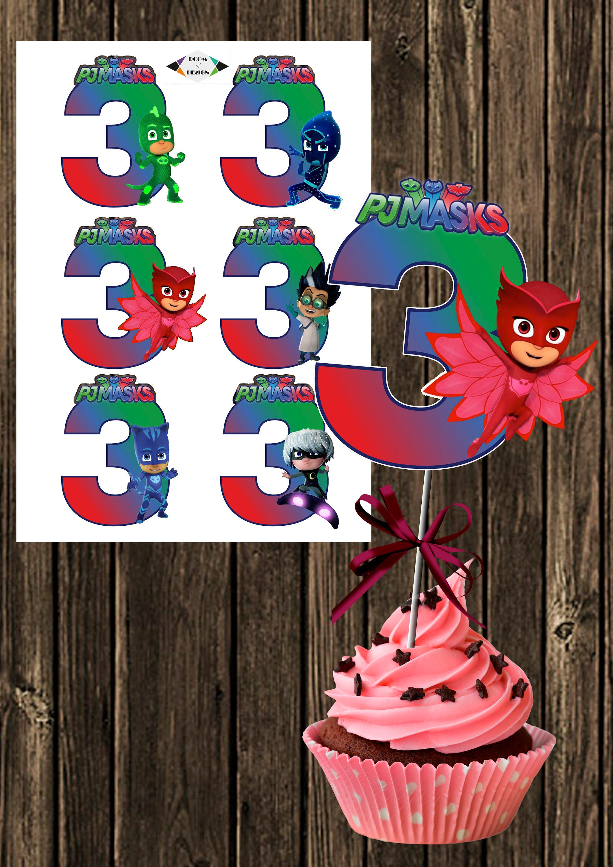 PJ Mask centerpiece number 3 PJ Mask printable centerpieces