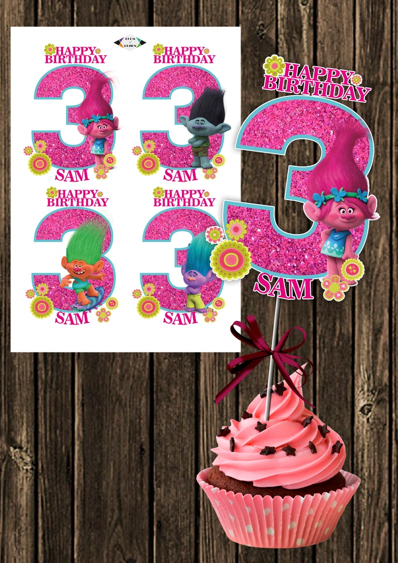 3 Trolls Centerpieces Printable NUMBER Party Supplies Birthday Decorations Instant Download