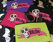 Skull Bride Make Up Bag, Alternative Wedding, Alternative Bride Gift, Creepy Cute, Gothic Bride, Gothic Wedding, Wedding Gift, Cosmetic Bag