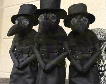 Plague Doctor Art Doll, Creepy Cute, Plague Doll, Horror Art Doll, Gothic Homeware, Gothic Doll, Halloween Home, Alt Doll