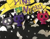 Sugar Skull Cat Keyring, Skull Keychain, Gothic Gift, Creepy Cute, Cat Gift, Gothic Keyring, Day of the Dead