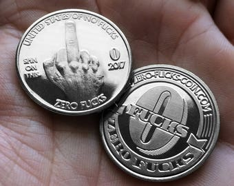 """10 PACK - Zero F*cks Given Coins! """"The Finger"""" Middle Finger Coins"""