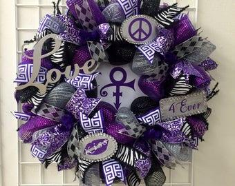 MADE TO ORDER....Prince Wreath, purple Rain wreath, Prince Lovers wreath