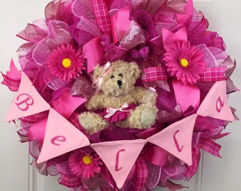 Baby Shower Wreath, Baby Girl Wreath, Made to Order Deco Mesh Wreath, Baby Deco Mesh Wreath, pink baby wreath, Baby Girl Wreath