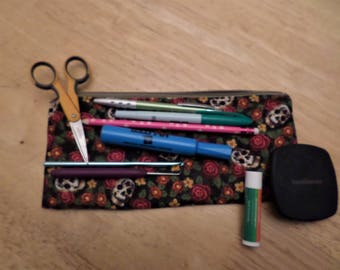 """Padded Zippered Notions/Cosmetic/Pencil Pouch - 10"""" x 4.75"""" - Alexander Henry's Flowers And Skulls, Pencils, Pens, Crochet Hooks, DPN's"""
