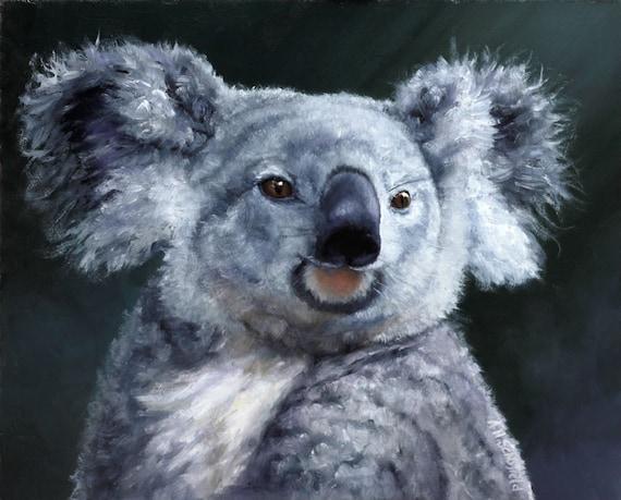 Items Op Etsy Die Op Koala Beer Prachtig Geweven Olieverfschilderij