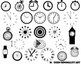 Clocks Clipart Black And White 26 PNG Images