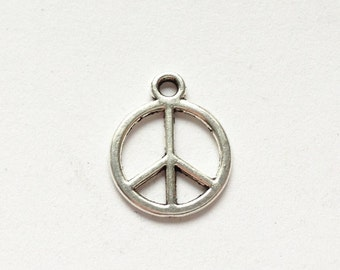 Silver, gold or bronze peace sign charm (2 pieces)