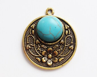 Gold round pendant with turquoise stone 30x26.5mm