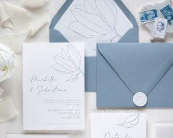 Dusty blue floral wedding invitation suite / Dusty blue wedding / Botanical invitation / Floral Invitation / Handmade wedding invitation
