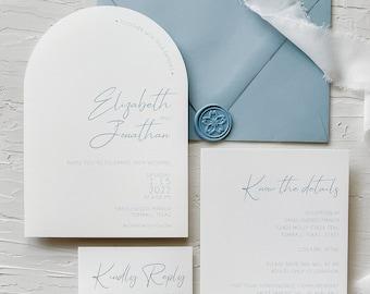 Arch wedding invitation / Dusty Blue wedding invitation / Modern wedding invitation / Arch save the date / Arch invitations