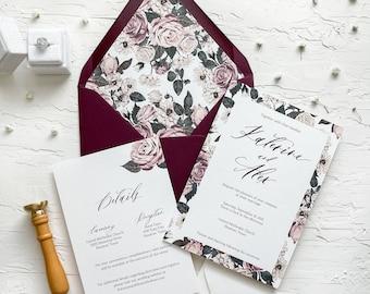 Floral pattern wedding invitations / Rose wedding invitations / Floral invitation / Vellum wax seal wedding invitation