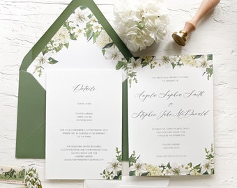 Lilies and greenery wedding invitations / Floral wedding invitations / Lilies wedding invitation / Vellum wax seal wedding invitation