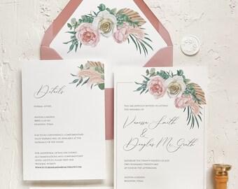 Floral boho wedding invitations / Dusty rose wedding invitations / Floral wedding invitation / Vellum wax seal wedding invitation
