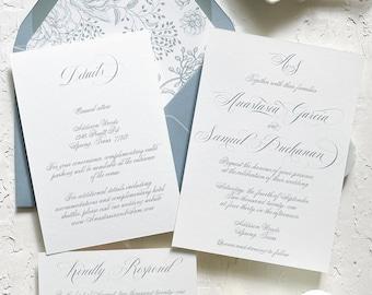 Classic dusty blue floral wedding invitation, Dusty blue wedding, Elegant wedding, Classic wedding, Classic wedding invitation