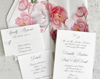 Pink floral peony wedding invitation / Vellum classic wedding invitation / Floral invitation with floral vellum wrap / Vellum jacket