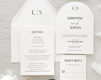 Black and white arch wedding invitation / Arch cut wedding invitation / Modern wedding invitation / Arch save the date / Arch invitations