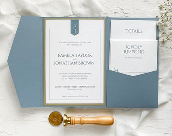 Dusty blue and gold pocket wedding invitation / Dusty blue wedding invitation / Pocket wedding invitation / Modern wedding invitation