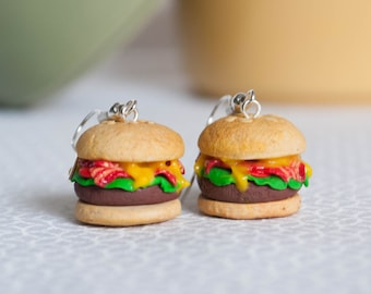 Cheeseburger Earrings - Handmade Polymer Clay Jewelry - Miniature Food