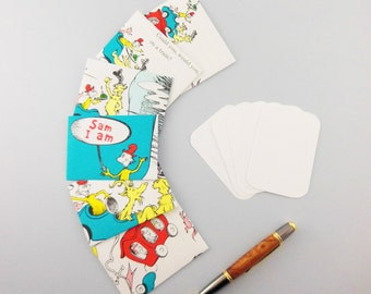 Recycled Book Note cards   Mini Note cards   Children's Cartoon book pages   Dr Suess envelopes   Gift card holder   Gift Enclosure