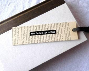 Recycled Book Mark   Vintage Bookmark   Personalized bookmark   Custom Bookmark Stay-Put   Book Lover Gift   Teacher Gift   Gift under 10