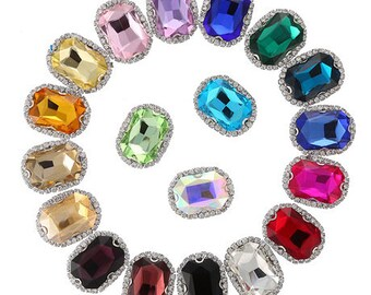 2975e82d5 Octagon 13x18mm crystal button in silver color setting flat back sew on claw  rectangle glass crystal rhinestones gemstones beads