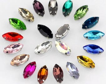 Navette 5x10mm 6x12mm Sew On Crystals Chatons in SILVER Color Prong Setting flat  back sew on rhinestone crystal glass beads gemstones b37fc626fa73