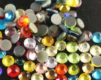 2d95a9b575302 Hot Fix 1440pcs Mixed Colors Crystal Rhinestones flat back Iron On 3mm 4mm  5mm 6.5mm ss10 ss16 ss20 ss30 Wholesales loose crystal bead glass