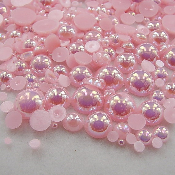 LIGHT GREY CRAFTS 4mm  HALF ROUND RESIN *PEARL BEADS* FOR NAIL ART