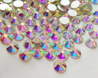 1440 pcs Crystal AB Flat Back Rhinestones Crystal wholesale bulk loose flatback rhinestone crystals glass beads 2mm 3mm 4mm 5mm 6mm 7mm