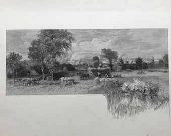 Old Lithograph Country Scene