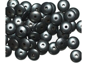 8mm Round Gunmetal Gray Metalized Metallic Beads