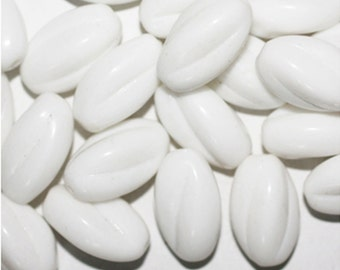 White Fluted Oval Czech Pressed Glass Beads  (pack of 20)