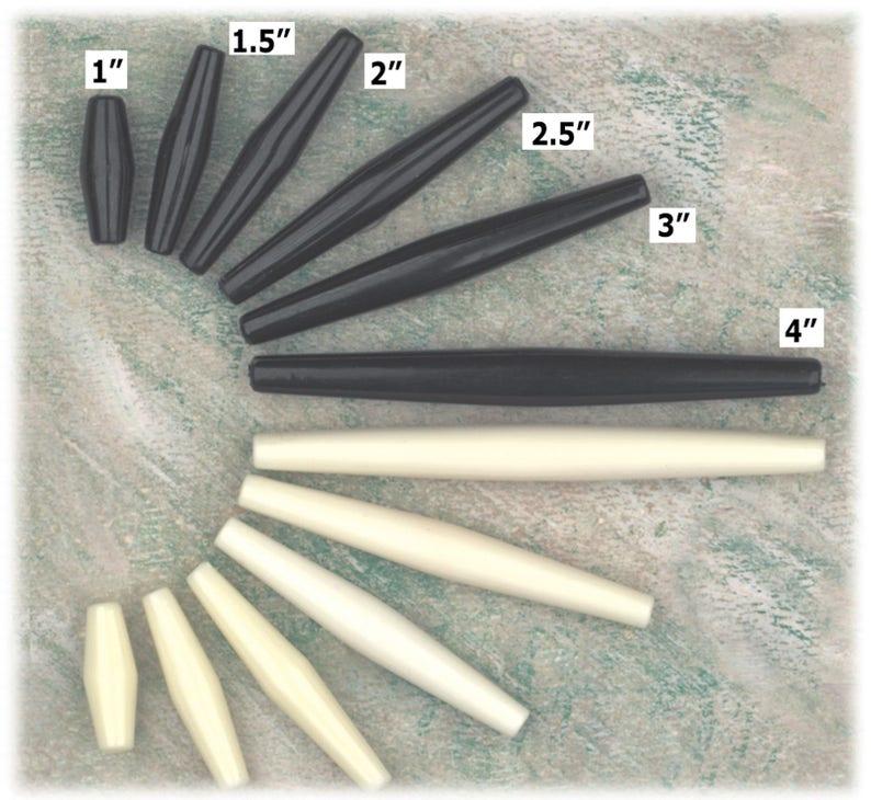 3 inch Hair Pipe Choker Beads White Hairpipe Simulated Bone Plastic Pack50 3