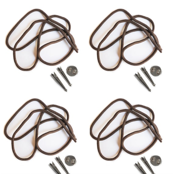 Blank Bolo Tie Parts Kit Round Slide Smooth Tips Black Cord Silvertone 4 sets