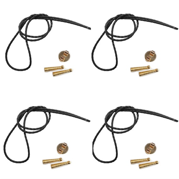 Blank Bolo String Tie Parts Kit Standard Slide Textured Tips Black Vinyl Braid DIY Gold Tone Supplie