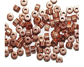 4mm Corrugated Gear Copper Metalized Metallic Beads Pack of 100. Made in USA