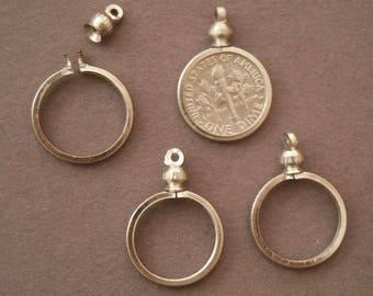 Coin Holder Bezel Dime USA 10 cent Silvertone for charm, necklace, pendant Pk/4