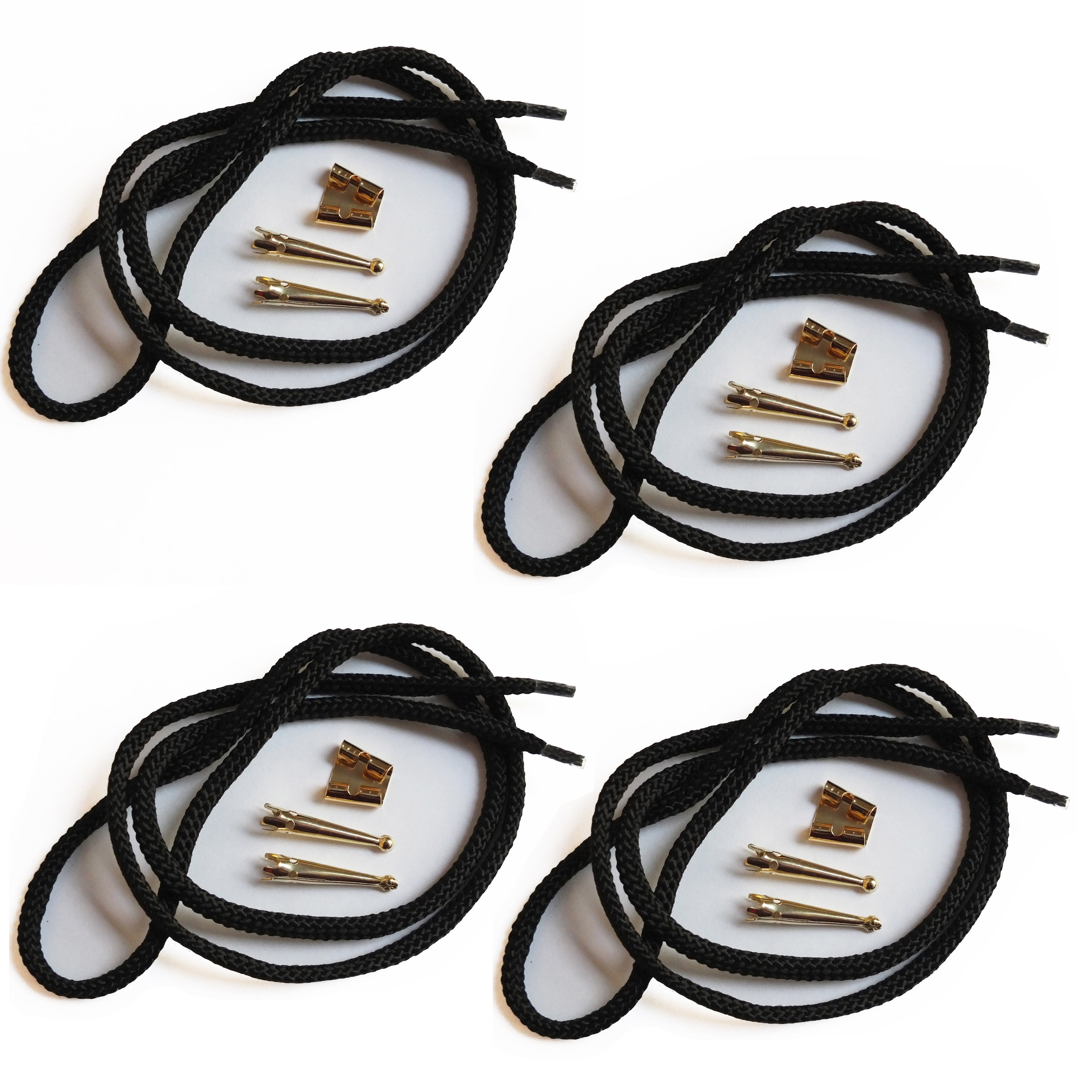 Blank Bolo Tie Parts Kit Standard Slide Smooth Tips Black Cord DIY Gold Tone Supplies for 4 ties