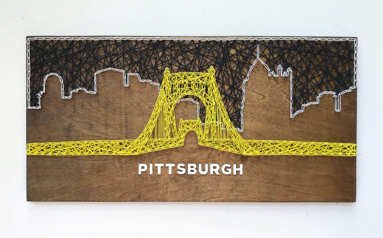 Pittsburgh Skyline String Art Roberto Clemente Bridge | Etsy