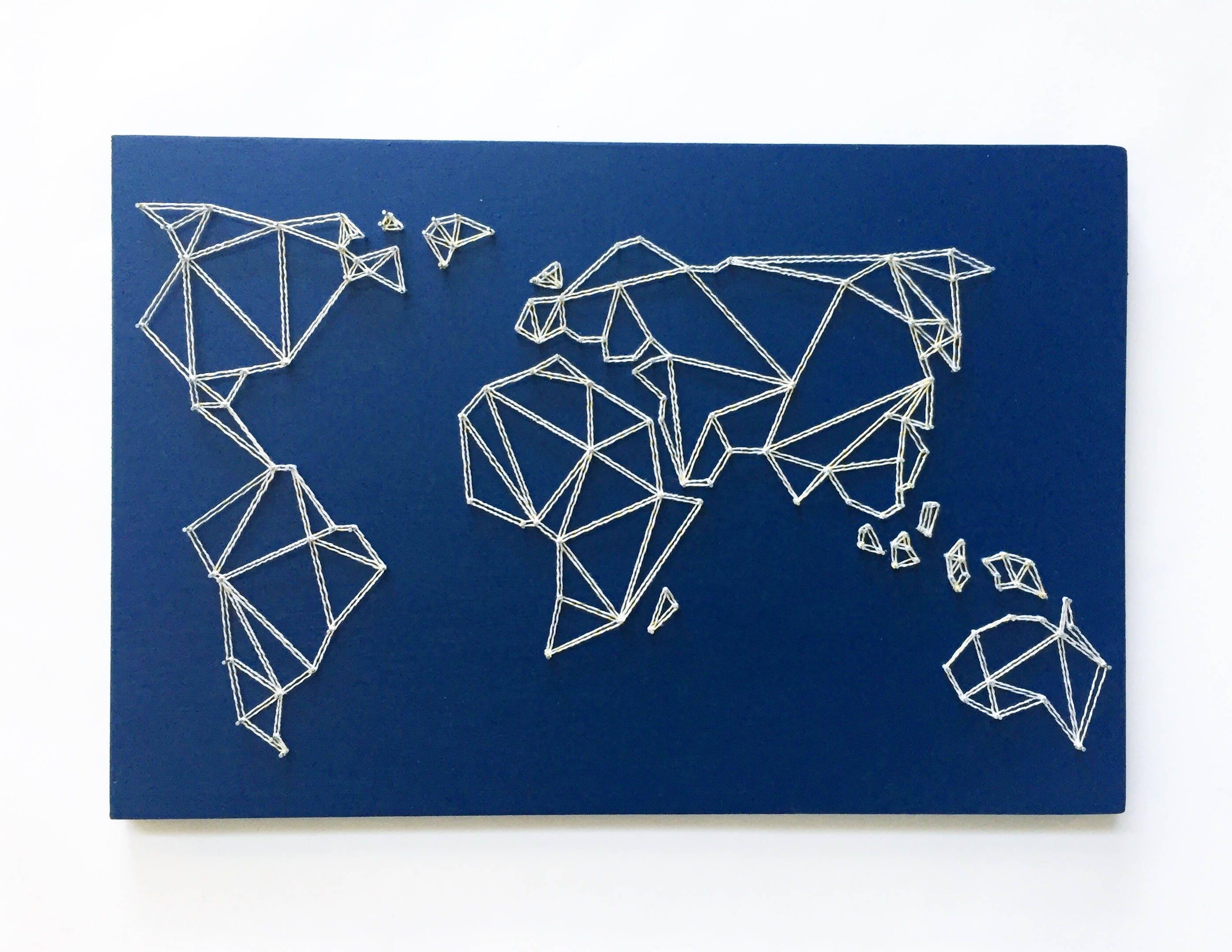 Geometrische Weltkarte String Art Karte-Wand-Kunst moderne   Etsy