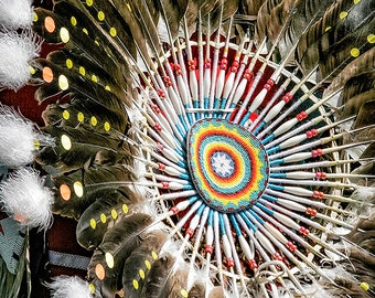 Indian Pow Wow, Indian Headdress, Native American Indian, Cabin Photo, Proud Heritage, Rustic Art, Eagle Feathers, Home Decor, Wall Art