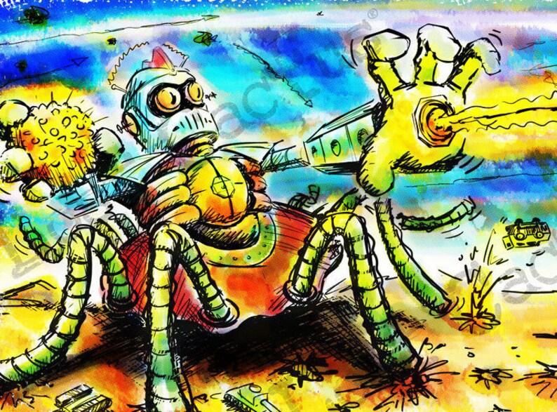 Top-Secret Sci-Fi Weapon Art Print, Apocalypse, Comic Strip, Robot,  Android, War, Battle, Armageddon, Explosion, Science Fiction, Graphic