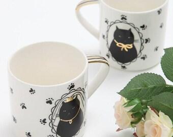 Cat's wedding mug set - handpainted couple mug - set of 2