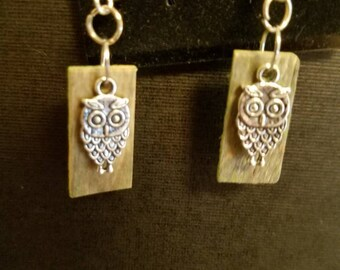 Wise owls displayed on green wood chips.