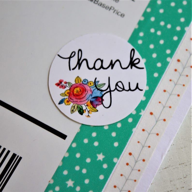 Thank You Floral Stickers  15 Ct image 0