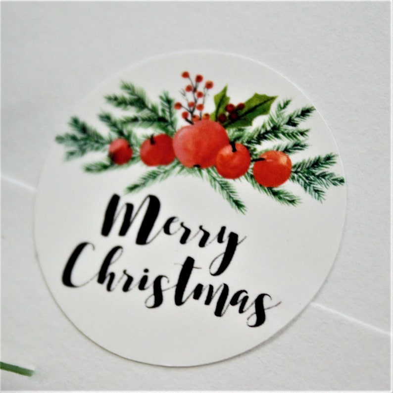 Merry Christmas w/ apples stickers  15 Ct image 0