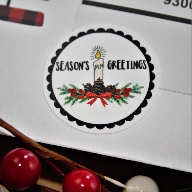 Season's Greetings Candle & Pinecone Swag Stickers  15 Ct image 0